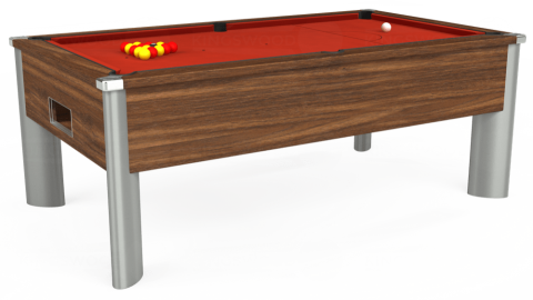 6ft Monarch Fusion Free Play in Dark Walnut with Hainsworth Smart Windsor Red cloth