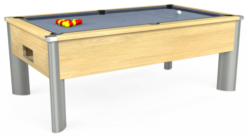 7ft Monarch Fusion Free Play in Light Oak with Hainsworth Elite-Pro Bankers Grey cloth