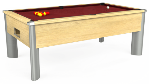 6ft Monarch Fusion Free Play in Light Oak with Hainsworth Elite-Pro Burgundy cloth