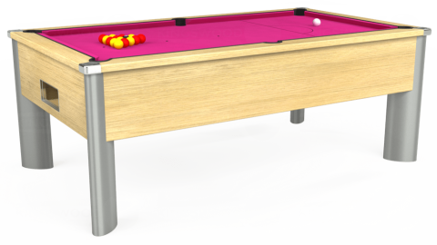 7ft Monarch Fusion Free Play in Light Oak with Hainsworth Elite-Pro Fuchsia cloth