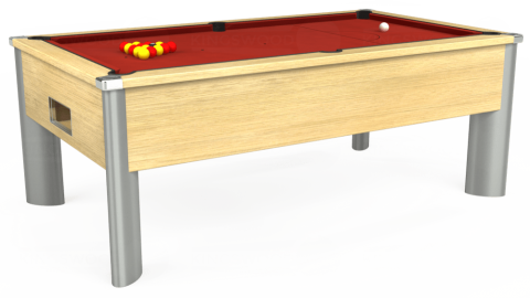 7ft Monarch Fusion Free Play in Light Oak with Hainsworth Elite-Pro Red cloth
