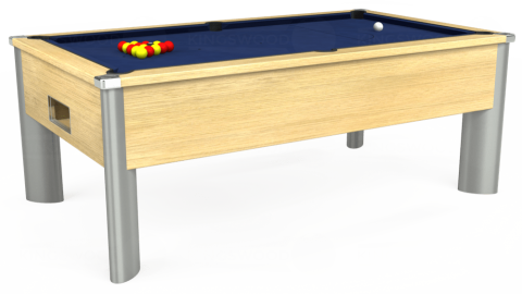 7ft Monarch Fusion Free Play in Light Oak with Hainsworth Smart Royal Navy cloth