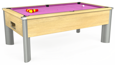 7ft Monarch Fusion Free Play in Light Oak with Hainsworth Smart Pink cloth