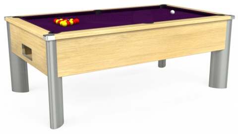 6ft Monarch Fusion Free Play in Light Oak with Hainsworth Smart Purple cloth