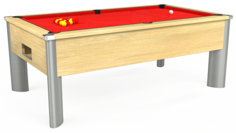 7ft Monarch Fusion Free Play in Light Oak with Hainsworth Smart Red cloth