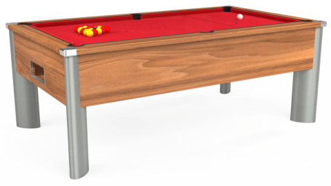 7ft Monarch Fusion Free Play in Light Walnut with Standard Red cloth