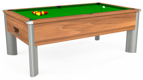 7ft Monarch Fusion Free Play in Light Walnut with Standard Green cloth