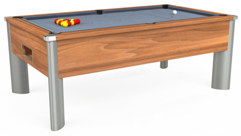 6ft Monarch Fusion Free Play in Light Walnut with Hainsworth Elite-Pro Bankers Grey cloth
