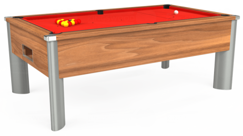 7ft Monarch Fusion Free Play in Light Walnut with Hainsworth Elite-Pro Bright Red cloth