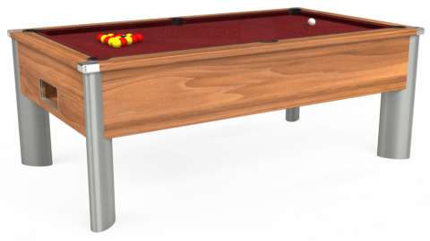 6ft Monarch Fusion Free Play in Light Walnut with Hainsworth Elite-Pro Burgundy cloth