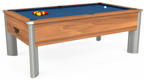 7ft Monarch Fusion Free Play in Light Walnut with Hainsworth Elite-Pro Cadet Blue cloth