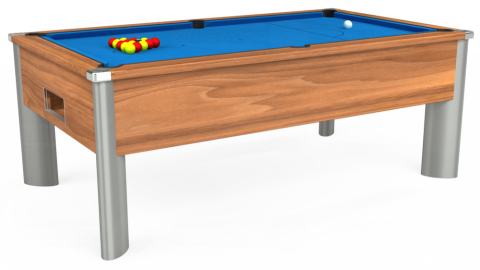7ft Monarch Fusion Free Play in Light Walnut with Hainsworth Elite-Pro Electric Blue cloth