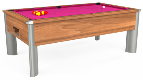 6ft Monarch Fusion Free Play in Light Walnut with Hainsworth Elite-Pro Fuchsia cloth