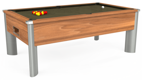 6ft Monarch Fusion Free Play in Light Walnut with Hainsworth Elite-Pro Olive cloth