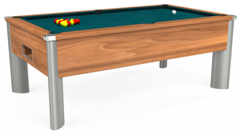 7ft Monarch Fusion Free Play in Light Walnut with Hainsworth Elite-Pro Petrol Blue cloth