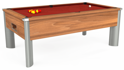 7ft Monarch Fusion Free Play in Light Walnut with Hainsworth Smart Cherry cloth