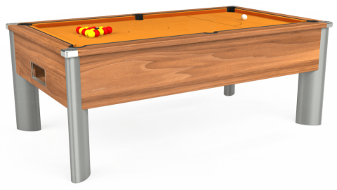 7ft Monarch Fusion Free Play in Light Walnut with Hainsworth Smart Gold cloth