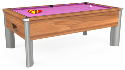 7ft Monarch Fusion Free Play in Light Walnut with Hainsworth Smart Pink cloth