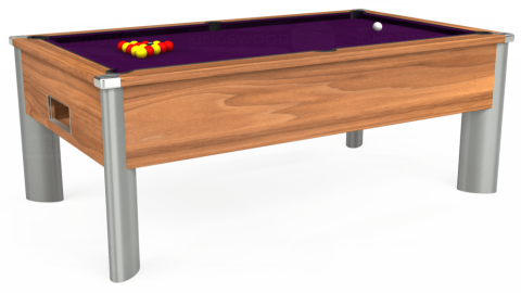 7ft Monarch Fusion Free Play in Light Walnut with Hainsworth Smart Purple cloth