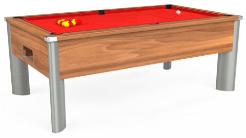 7ft Monarch Fusion Free Play in Light Walnut with Hainsworth Smart Red cloth