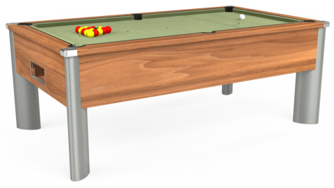 7ft Monarch Fusion Free Play in Light Walnut with Hainsworth Smart Sage cloth