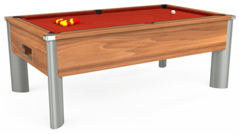 7ft Monarch Fusion Free Play in Light Walnut with Hainsworth Smart Windsor Red cloth