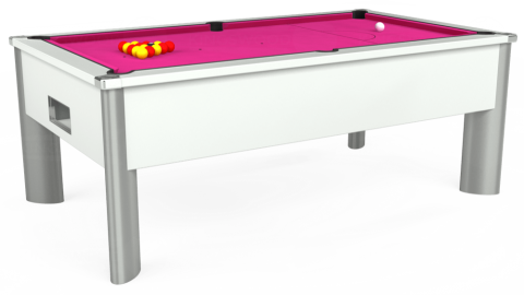 7ft Monarch Fusion Free Play in White with Hainsworth Elite-Pro Fuchsia cloth