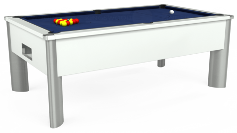 6ft Monarch Fusion Free Play in White with Hainsworth Smart Royal Navy cloth