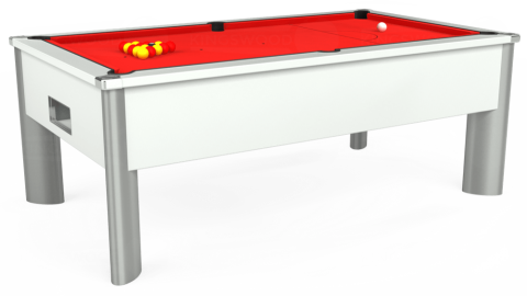 7ft Monarch Fusion Free Play in White with Hainsworth Smart Red cloth
