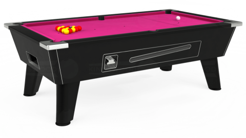 6ft Omega Coin Operated in Black with Hainsworth Elite-Pro Fuchsia cloth