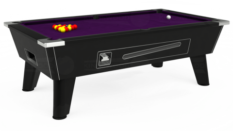 7ft Omega Coin Operated in Black with Hainsworth Elite-Pro Purple cloth