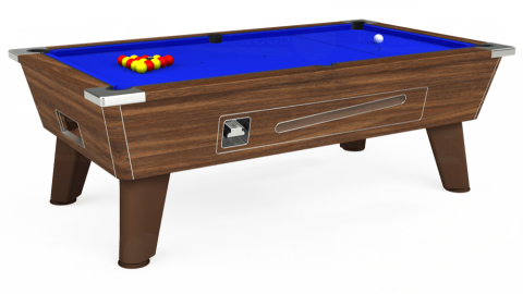 7ft Omega Coin Operated in Dark Walnut with Standard Blue cloth