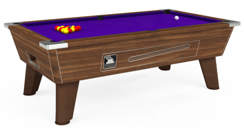 6ft Omega Coin Operated in Dark Walnut with Standard Purple cloth