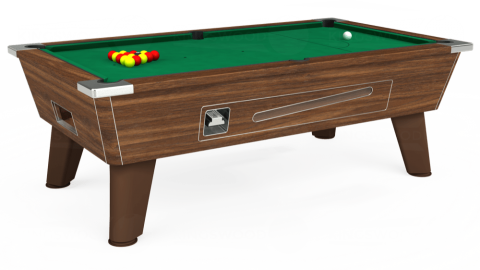7ft Omega Coin Operated in Dark Walnut with Hainsworth Elite-Pro American Green cloth