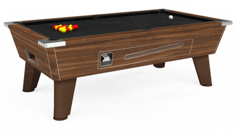 7ft Omega Coin Operated in Dark Walnut with Hainsworth Elite-Pro Black cloth