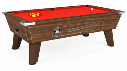 6ft Omega Coin Operated in Dark Walnut with Hainsworth Elite-Pro Bright Red cloth