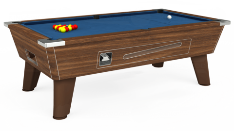 7ft Omega Coin Operated in Dark Walnut with Hainsworth Elite-Pro Cadet Blue cloth