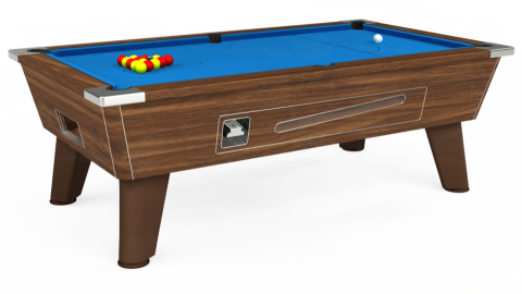 6ft Omega Coin Operated in Dark Walnut with Hainsworth Elite-Pro Electric Blue cloth