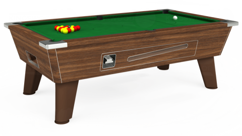 7ft Omega Coin Operated in Dark Walnut with Hainsworth Elite-Pro English Green cloth