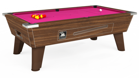 6ft Omega Coin Operated in Dark Walnut with Hainsworth Elite-Pro Fuchsia cloth