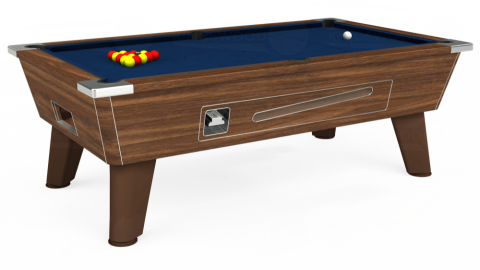 7ft Omega Coin Operated in Dark Walnut with Hainsworth Elite-Pro Marine Blue cloth