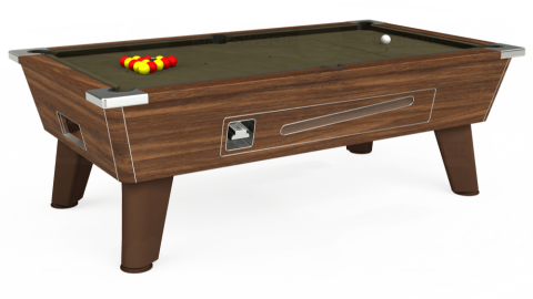 7ft Omega Coin Operated in Dark Walnut with Hainsworth Elite-Pro Olive cloth
