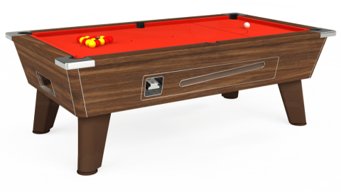 7ft Omega Coin Operated in Dark Walnut with Hainsworth Elite-Pro Orange cloth