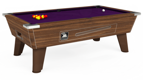 7ft Omega Coin Operated in Dark Walnut with Hainsworth Elite-Pro Purple cloth