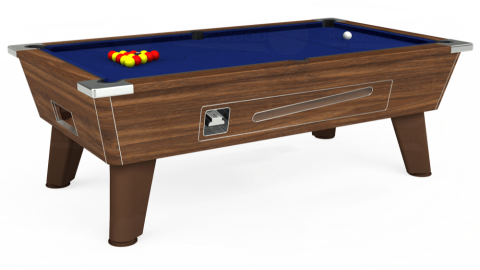 7ft Omega Coin Operated in Dark Walnut with Hainsworth Elite-Pro Royal Blue cloth