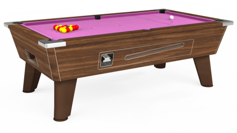7ft Omega Coin Operated in Dark Walnut with Hainsworth Smart Pink cloth