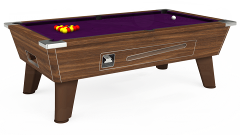 7ft Omega Coin Operated in Dark Walnut with Hainsworth Smart Purple cloth