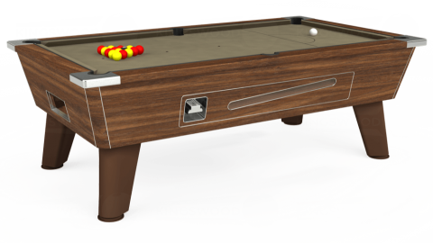 7ft Omega Coin Operated in Dark Walnut with Hainsworth Smart Taupe cloth