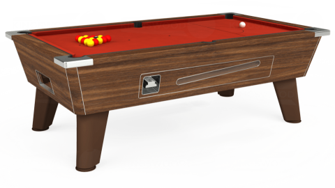 7ft Omega Coin Operated in Dark Walnut with Hainsworth Smart Windsor Red cloth