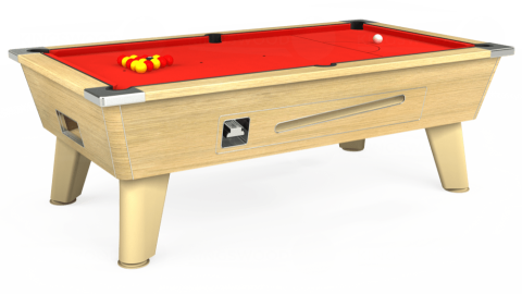 6ft Omega Coin Operated in Light Oak with Hainsworth Elite-Pro Bright Red cloth